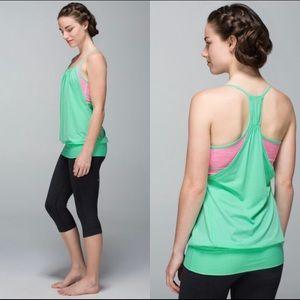 Lululemon No Limits Opal Green/ Neon Pink Tank Top
